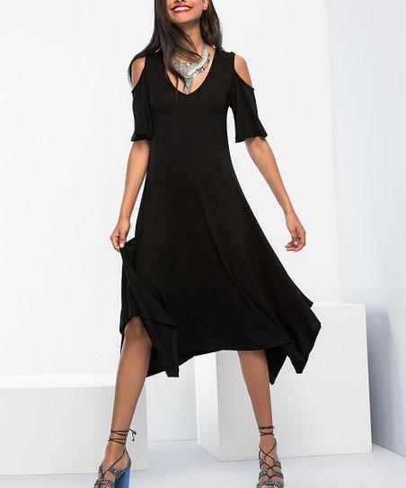 Black Handkerchief Hem Dress