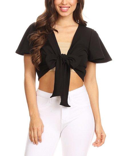 54cc8d49acdeee love this product Black Tie-Front Short-Sleeve Crop Top - Women & Plus