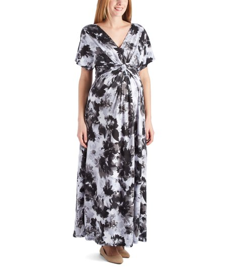 af62ea3fc9567 love this product White & Gray Floral Knot-Front Maxi Maternity Dress