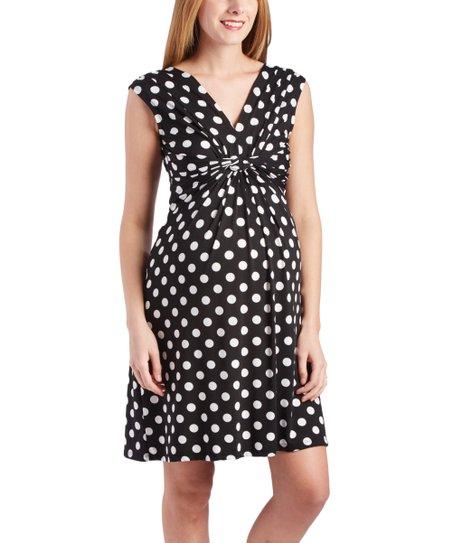 4e40246f784 love this product Black   White Polka Dot Twist-Front Maternity Nursing  Tunic Dress