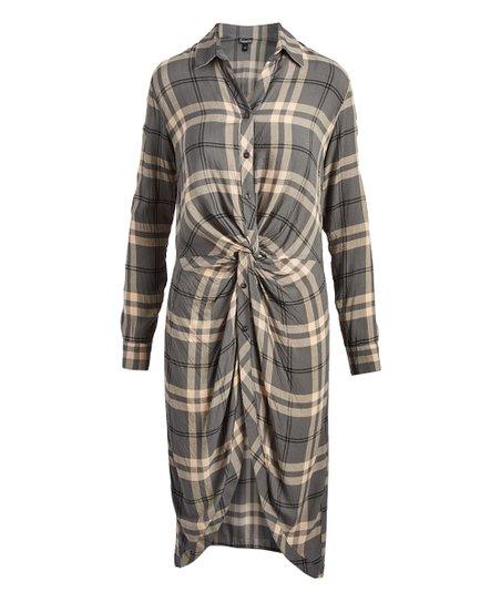 367d4877c646 love this product Gray   Blush Plaid Knot-Accent Shirt Dress - Women