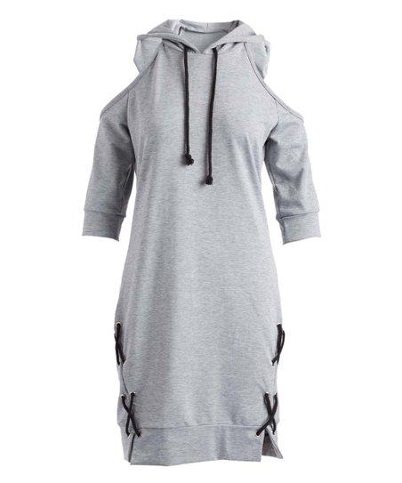 5d9d170f692 God Shield Gray Cold Shoulder Hoodie Dress - Women