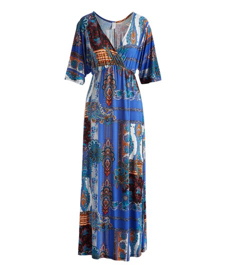 2e72aa1ec48a1 love this product True Blue   Black Status Kimono-Sleeve Maxi Dress - Women    Plus