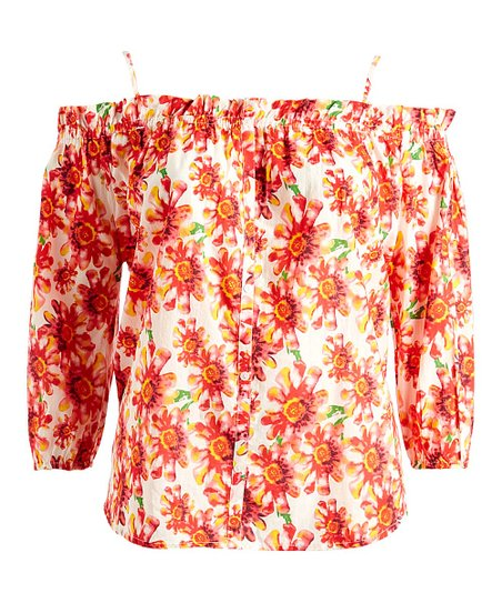 39f2346c459 Stevie & Lindsay Pink Floral Off-Shoulder Top - Plus | Zulily