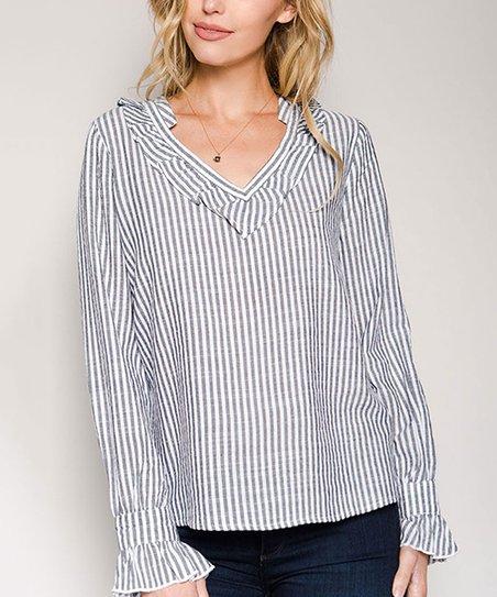 70a4dafae9e4ed love this product Black Stripe Ruffle-Accent V-Neck Top - Women