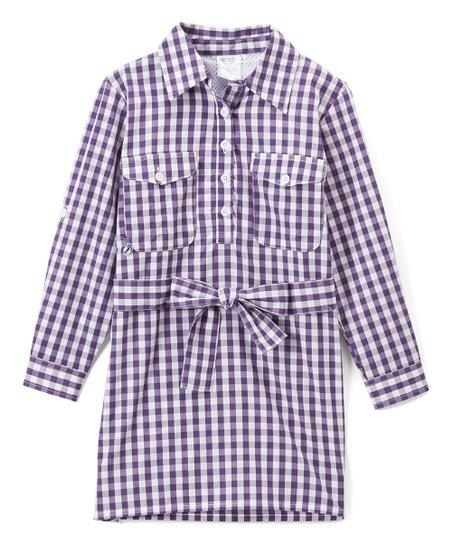 a846960ec679fc love this product Purple Gingham Belted Sun-Protective Shirt Dress -  Infant, Toddler & Girls