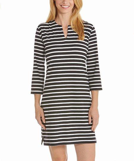 2e36fe9ab029 Coolibar Black & White Stripe Oceanside Tunic Dress - Women | Zulily