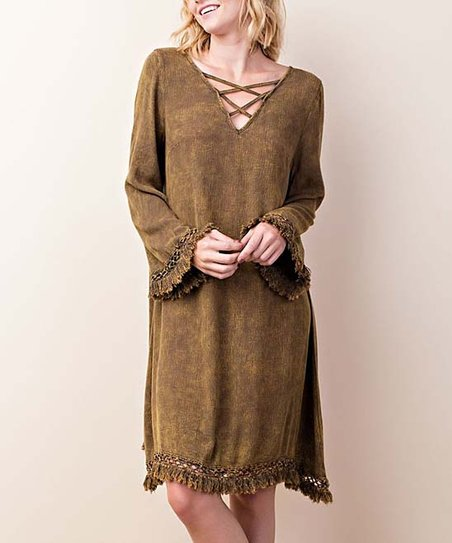 4fe357878d6 love this product Olive Fringe-Trim Crisscross V-Neck Dress - Women