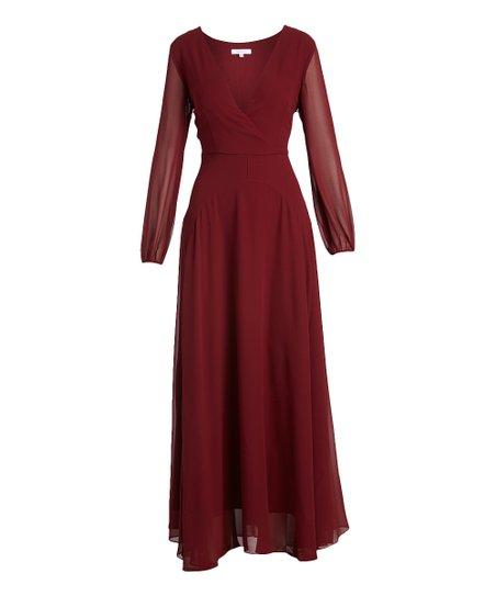 f080044ae3ccc Lucy Paris Burgundy Carolina Maxi Dress - Women   Zulily
