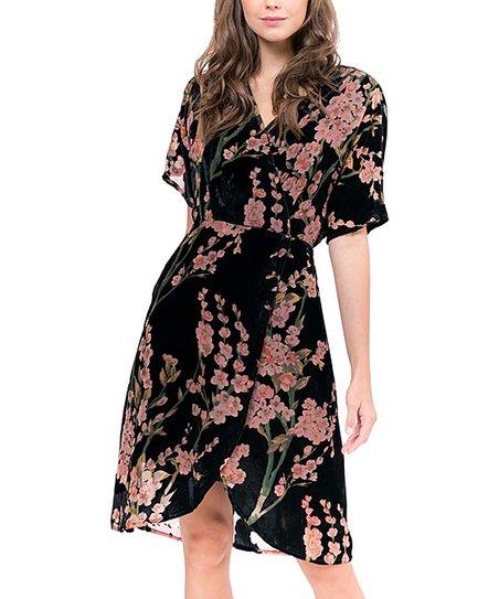 0275c6b1f0fb Lucy Paris Black Floral Burnout Cassandra Wrap Dress