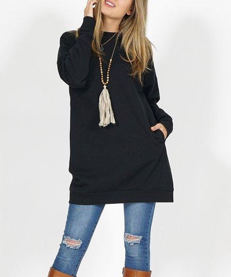 1e2c641f838 42POPS Black Side-Pocket Oversize Fleece Tunic   Zulily