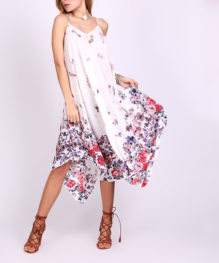 aab7d42275c love this product White   Red Floral Handkerchief Dress - Women