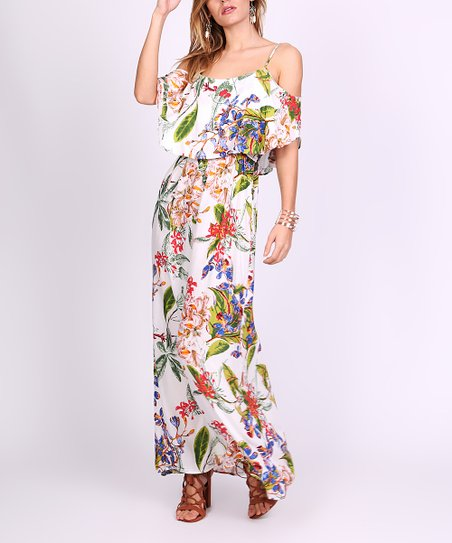 d357318d764f love this product White Tropical Ruffle Cutout Maxi Dress - Women