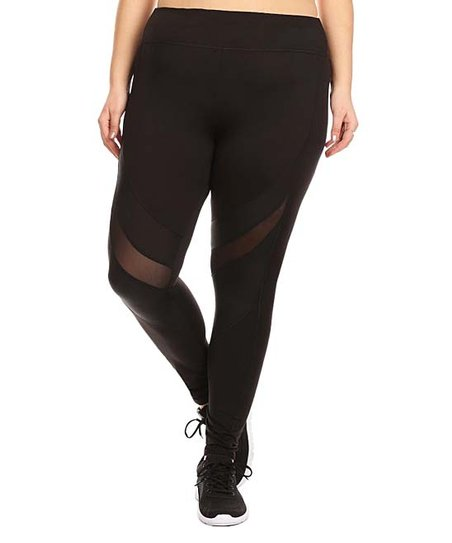 b5284df77a52f Pink Mint Black Contrast-Mesh Leggings - Plus | Zulily