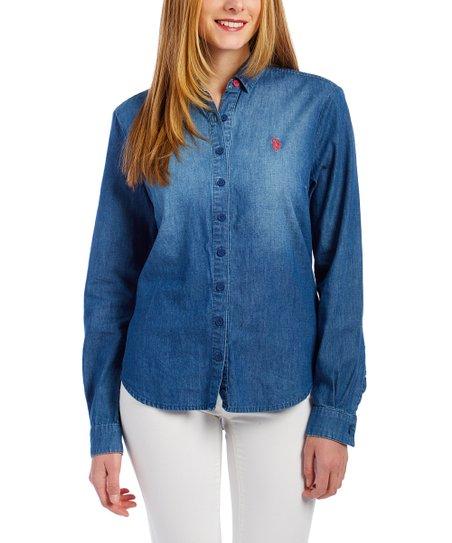33a2a380d U.S. Polo Assn. Blue Denim Button-Front Top - Women