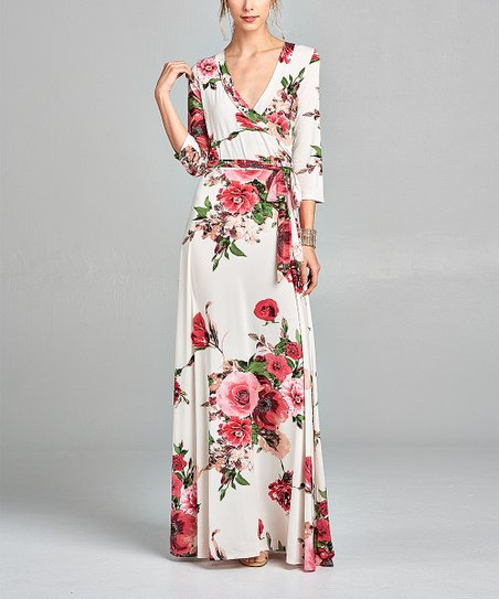 bdeac49f14 love this product White Floral Wrap Maxi Dress - Women