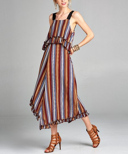 6abe0ea659d love this product Red   Blue Stripe Ruffle-Accent Maxi Dress - Women   Plus