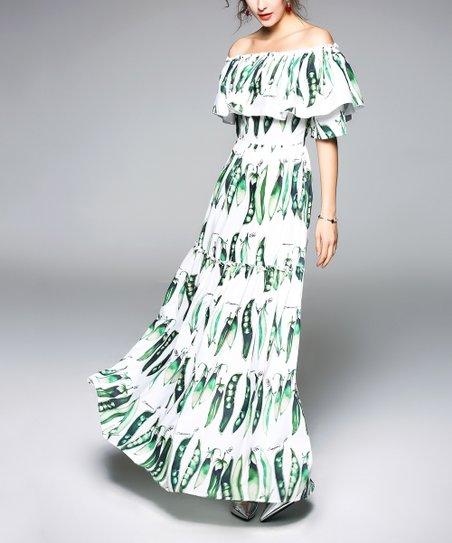 White Green Pea Off Shoulder Maxi Dress Women