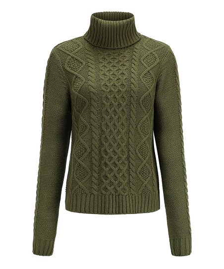 Coeur De Vague Green Cable Knit Turtleneck Sweater Zulily