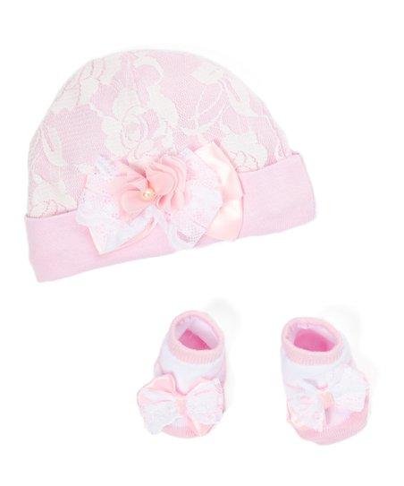 Pink Lace Overlay Cap   Sock Set - Newborn  bd6cfd804d4