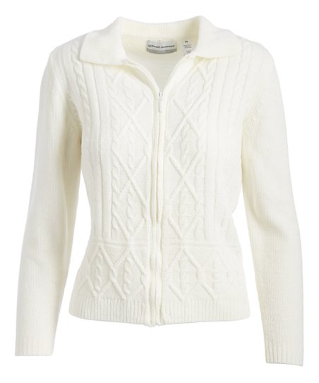 062486d7902 Alfred Dunner Ivory Cable Knit Zip-Up Cardigan