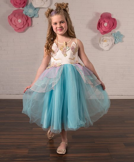 e565f17a8f3c Just Couture Blue Unicorn Ruffle A-Line Dress - Toddler & Girls | Zulily