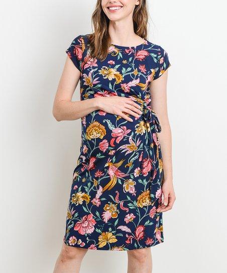 3f4eed6517b Hello Miz Maternity Navy Floral Adjustable Tie Maternity Dress