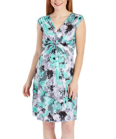c81e7617e4f49 love this product Green & Black Floral Knot-Front Sleeveless Maternity Dress