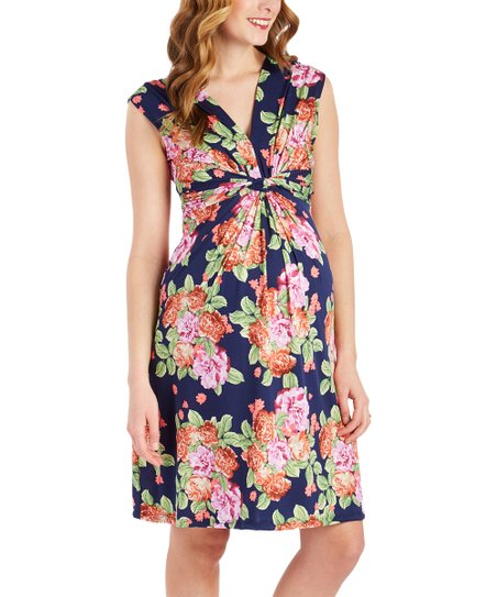 ea8a1c5385ddd love this product Navy & Pink Floral Knot-Front Sleeveless Maternity Dress