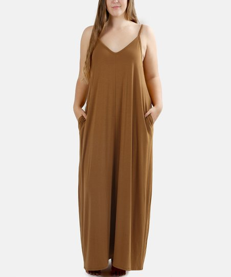 67c73ccaf964 love this product Coffee Side-Pocket Maxi Dress - Plus