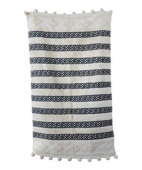 Black Cream Stripe Woven Rug