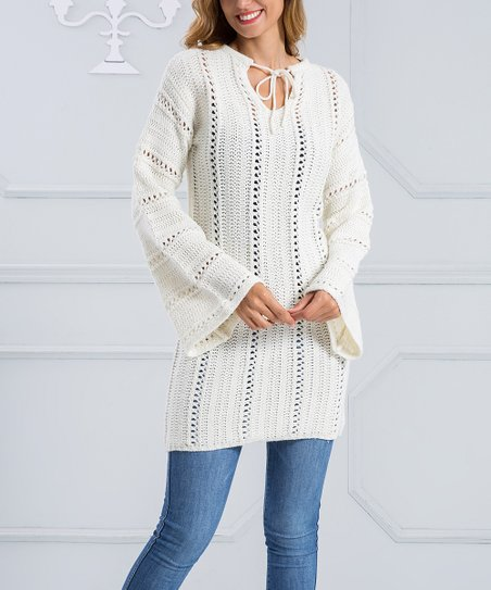 a7aa3d37d8a Beyond This Plane White Tie-Front V-Neck Sweater Dress