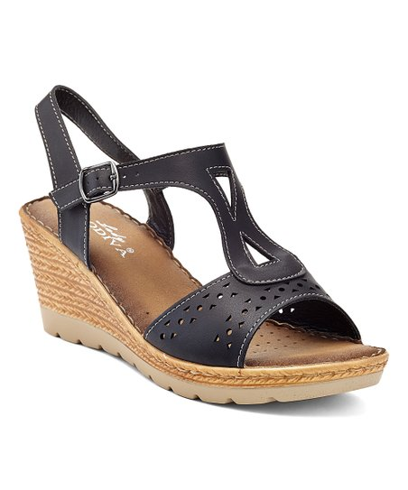 6bcea46f62b7 Lady Godiva Black T-Strap Wedge Sandal - Women