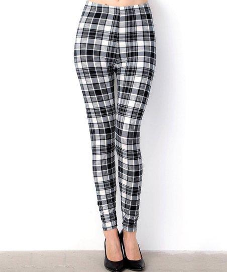 69a91610b69f37 love this product Black & White Plaid Leggings - Women