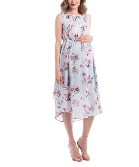 75843d19fd010 Lilac Maternity Sky Floral Grecian Maternity/Nursing Dress | Zulily