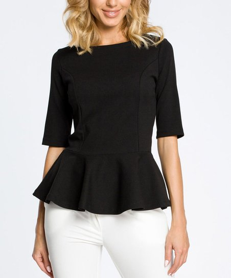 2019 clearance sale best prices cheap prices MOE Black Peplum Top - Women