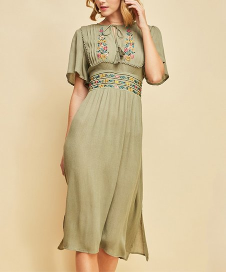 2de3cc26426 love this product Olive Floral Embroidery Empire-Waist Midi Dress