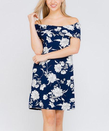978301649f sun n moon Navy Floral Off-Shoulder Shift Dress - Women | Zulily
