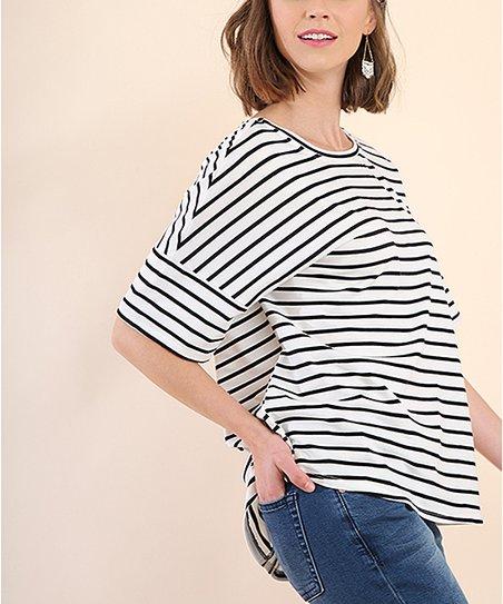 f391441354e30 Umgee Black   Ivory Stripe Cutout T-Back Short-Sleeve Top
