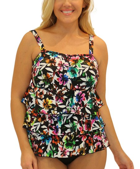c74dc065d486d love this product Black   Blue Floral Ruffle Tankini Top - Plus