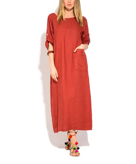 Blood Orange Roll Tab Linen Maxi Dress   Plus