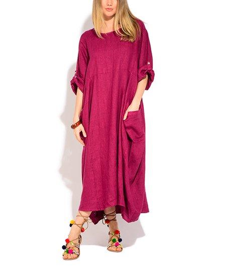 Couleur Lin Red Pocket Roll-Tab Linen Maxi Dress - Women
