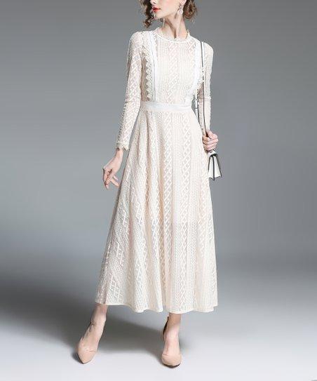 8b78c9afba4b LAKLOOK White Lace Midi Dress - Women