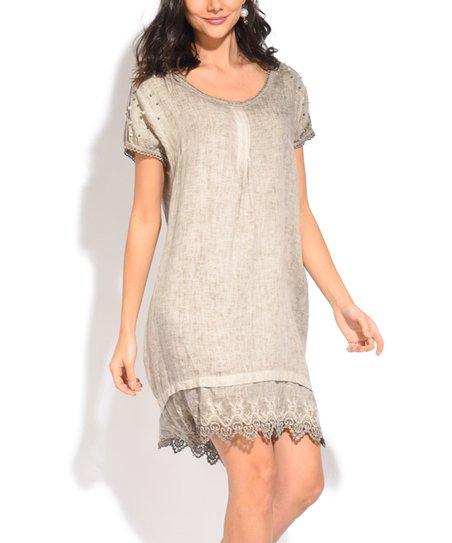 4d063054586 Kalipsa Rose Brown Embellished-Sleeve Lace-Hem Linen Shift Dress ...