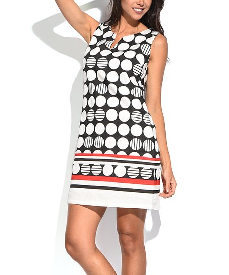9984b4ac7e0 William de Faye Black Circle Linen-Blend Notch Neck Dress - Women ...