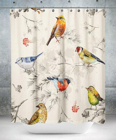 Beige Yellow Bird Shower Curtain