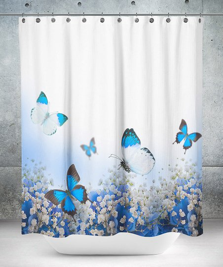 White Blue Butterfly Shower Curtain