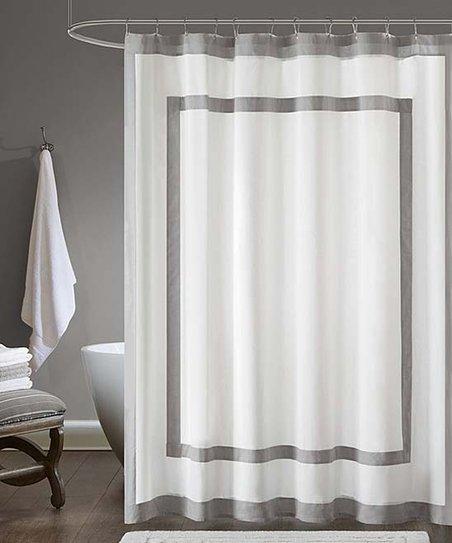 White Gray Border Shower Curtain