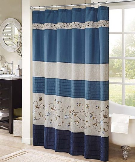 Love This Product Navy Embroidered Stripe Shower Curtain