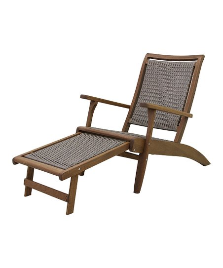 Groovy Outdoor Interiors Gray Wicker Eucalyptus Lounge Chair Pabps2019 Chair Design Images Pabps2019Com